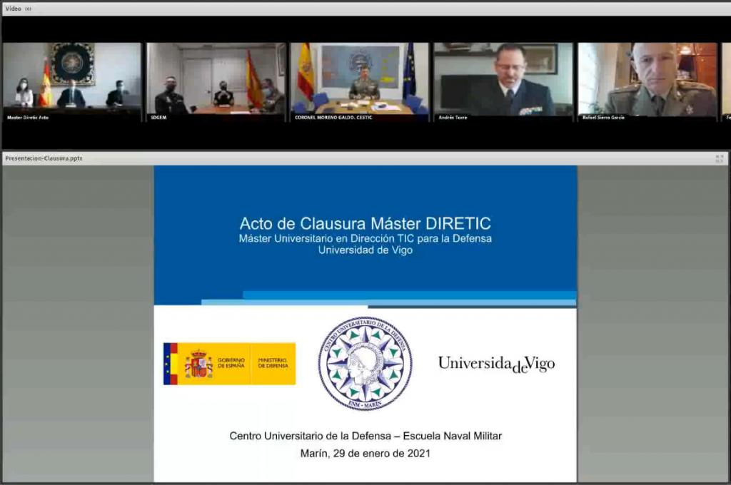 Acto de clausura y entrega de diplomas del Máster DIRETIC (Máster Universitario en Dirección TIC para la Defensa por la UVIGO)